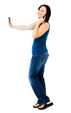 telecommunicating: Happy woman talking on a mobile phone isolated over white Stock Photo