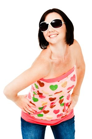 blissfulness: Smiling woman wearing sunglasses isolated over white Stock Photo