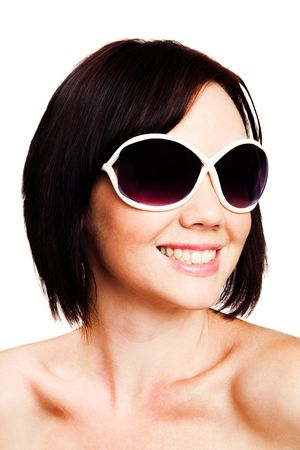blissfulness: Young woman wearing sunglasses isolated over white Stock Photo