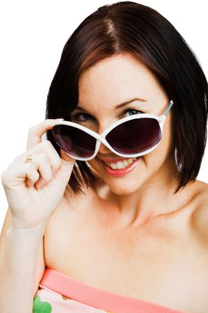 blissfulness: Caucasian woman wearing sunglasses isolated over white