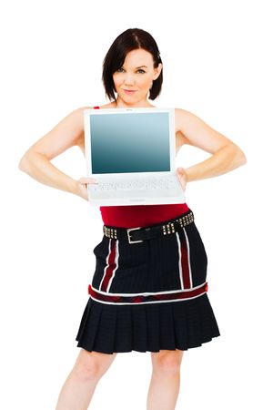 telecommunicating: Portrait of a young woman holding a laptop isolated over white