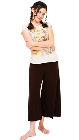 Woman posing and smiling isolated over white Stock Photo