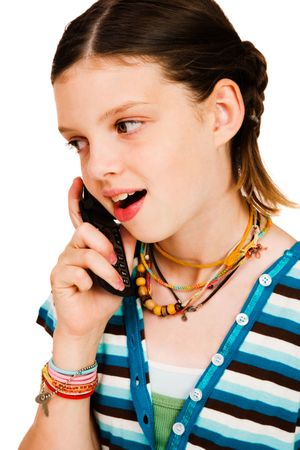 telecommunicating: Happy girl talking on a mobile phone isolated over white