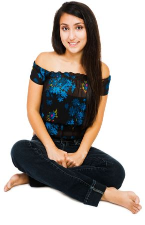 Young woman smiling and posing isolated over white photo
