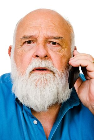 Caucasian man talking on a mobile phone isolated over white Stock Photo - 5675129