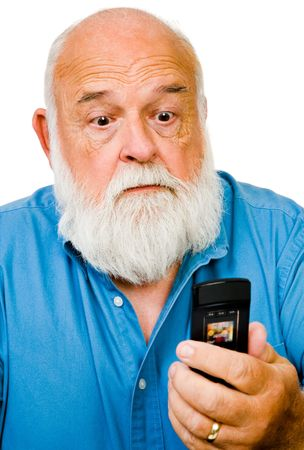 Close-up of a man text messaging on a mobile phone isolated over white photo