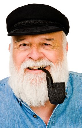 Senior man smoking with pipe isolated over white photo