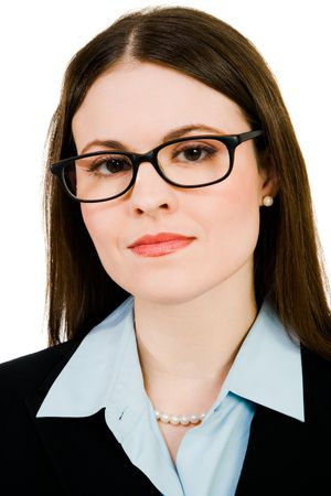 Portrait of a businesswoman wearing eyeglasses isolated over white