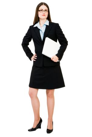 telecommunicating: Portrait of a businesswoman holding a laptop isolated over white Stock Photo