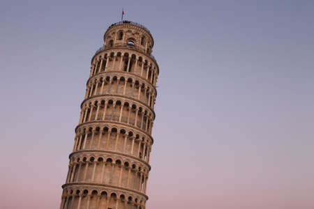 Leaning Tower of Pisa at sunset photo