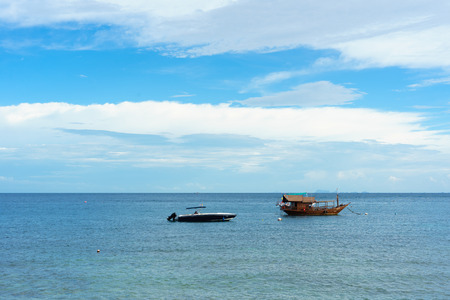 View point from top of mountain for see the beach,the boat, sea and nature of Ko Tao island of Thailand.