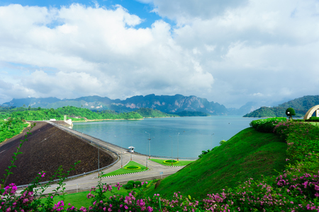 Ratchaprapha dam or Cheow Lan Dam is a beautiful view at Surat Thani, Thailand.