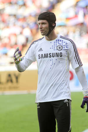 Bangkok Thailand ,24 July 2011 : Petr Cech Chelsea FC's Goal Keeper and Czech Republic  in warm up session  before a friendly match starting VS Thai Premier League All Star XI at the Rajamangala National Stadium with Chelsea's 2011 Asia Tour Stock Photo - 10165801