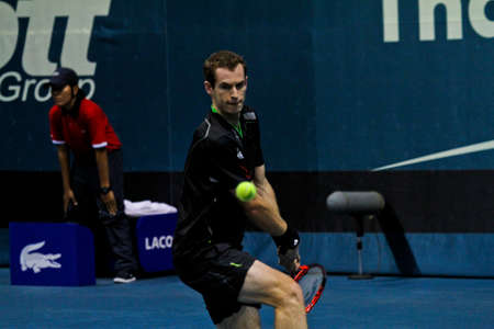 Bangkok , Thailand  29 Sepember 2011 : Andy Murray plays in the 2nd round  of 2011 PTT Thailand Open at Impact Arena, Bangkok