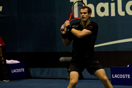 atp: Bangkok , Thailand  29 Sepember 2011 : Andy Murray plays in the 2nd round  of 2011 PTT Thailand Open at Impact Arena, Bangkok