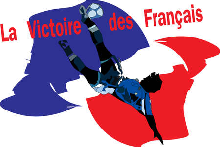 Football player and France flag Vector