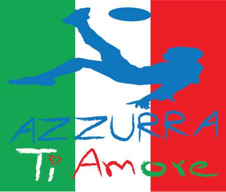 uefa: Italien Fu�ball mit Fahne