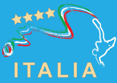 Italy football with Blue Background Vector