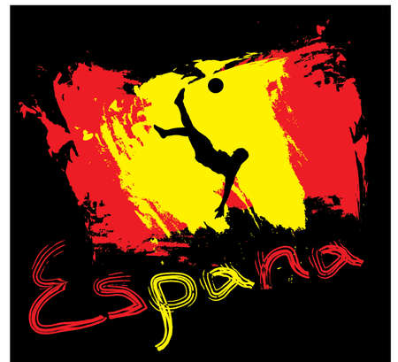 Spain football  in flag color style Illustration