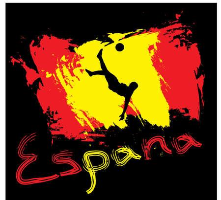 uefa: Spanien Fu�ball Flagge in Farbe, Stil,