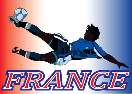 Football player and France flag gradient color  Illustration