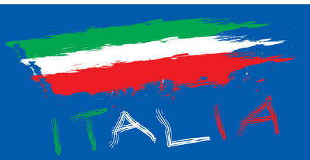 Italy flag  with Blue Background Stock Vector - 14018685