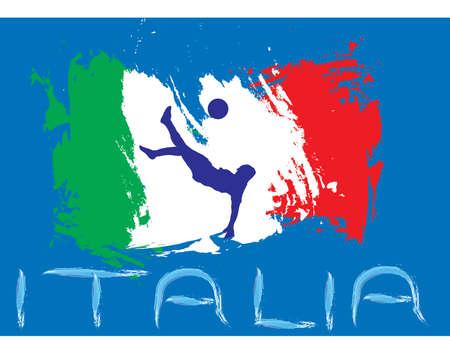 uefa: Italien Fu�ball mit Fahne und blauem Hintergrund