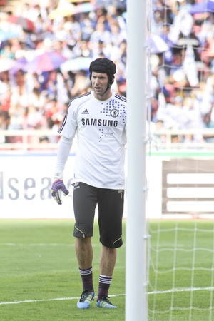 Bangkok Thailand ,24 July 2011 : Petr Cech Chelsea FCs Goal Keeper and Czech Republic in warm up session before a friendly match starting VS Thai Premier League All Star XI at the Rajamangala National Stadium with Chelseas 2011 Asia Tour