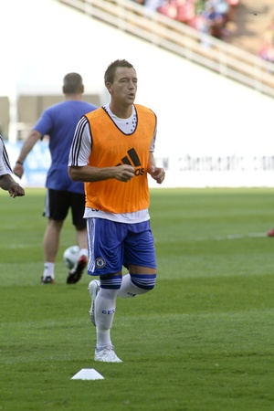 Bangkok Thailand ,24 July 2011 : : John Terry , Chelsea FCs captain and England in warm up session before a friendly match starting VS Thai Premier League All Star XI at the Rajamangala National Stadium with Chelseas 2011 Asia Tour 報道画像