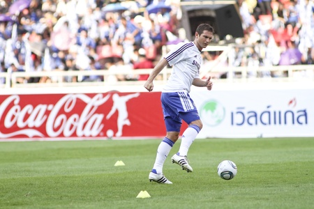 Bangkok Thailand ,24 July 2011 :Frank Lampard , Chelsea FCs midfielder and England in action before a friendly match starting VS Thai Premier League All Star XI at the Rajamangala National Stadium with Chelseas Asia Tour