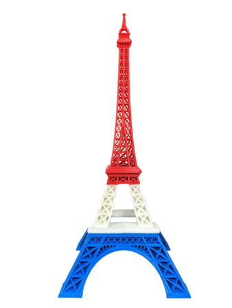 eiffel: Eiffel Tower Model with Red White Blue Stripe printed by 3D Printer Isolated