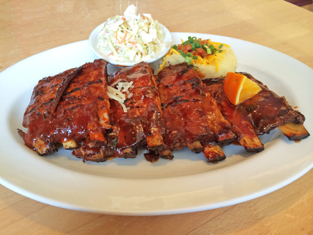 Full Rack Ribs with Mashed Potato and Coleslaw photo