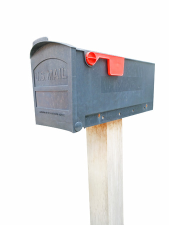 await: Dark Gray Plastic Mailbox Isolated on White Background with Clipping Path