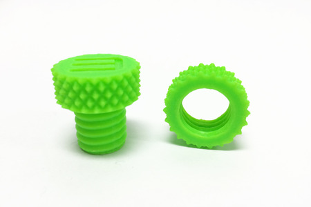 3d  bolt: Plastic Screw Nut and Bolt printed by 3D Printer on White Background Stock Photo