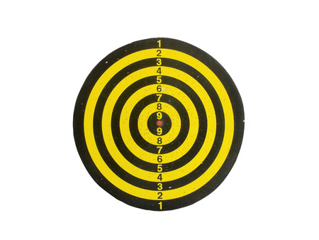 objects with clipping paths: Classic Used Yellow and Black Dart Board Isolated on White Background with Clipping Path Stock Photo