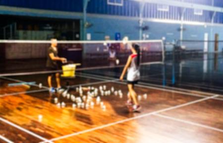 training session: Blur Badminton Training Session used as Background Stock Photo