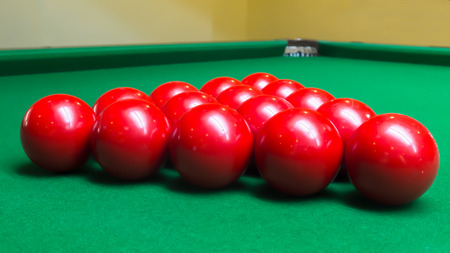 snooker balls: Group of Red Snooker Balls on Snooker Table