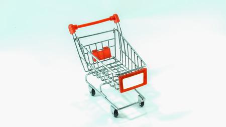 empty shopping cart: Empty Shopping Cart on White Background Stock Photo