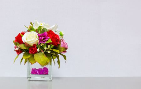 Beautiful Flower Vase At The Corner On Gray Background With