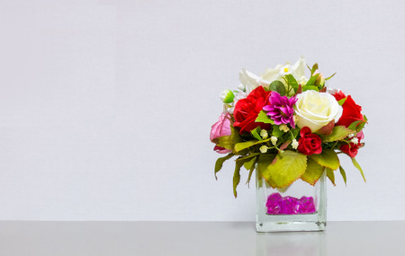 flower: Beautiful Flower Vase at The Corner on Gray Background with Copyspace to input Text used as Template Stock Photo
