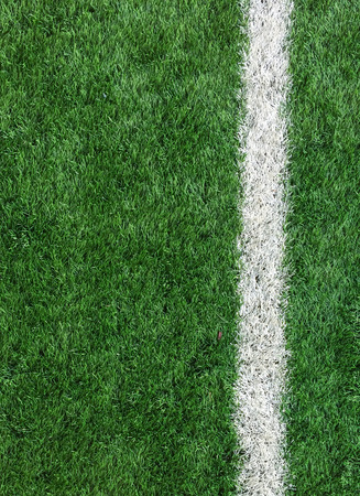 sports field: White Stripe Line on The Green Soccer Field from Top View used as Template