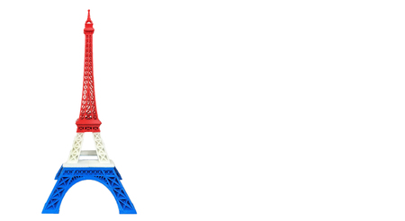 Eiffel Tower Model in France Flag, Red White Blue Stripe printed by 3D Printer at Corner with Space to input Text or for Mock Up Display Product, Pray for Paris Concept Imagens
