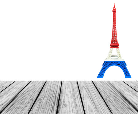 Wooden Terrace Platform with Eiffel Tower Model in France Flag, Red White Blue Stripe printed by 3D Printer at Corner with Space to input Text for Mock Up Display Product, Pray for Paris Concept