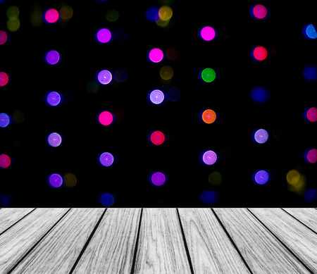 colorful light display: Empty Wooden Perspective Platform with Sparkling Abstract Colorful Round Light Bokeh Circles Background used as Template to Mock up for Display Product Stock Photo