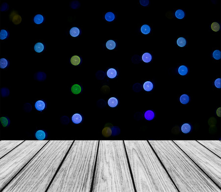 colorful light display: Empty Wooden Perspective Platform with Sparkling Abstract Colorful Round Light Cold Color Tone Bokeh Circles Background used as Template to Mock up for Display Product