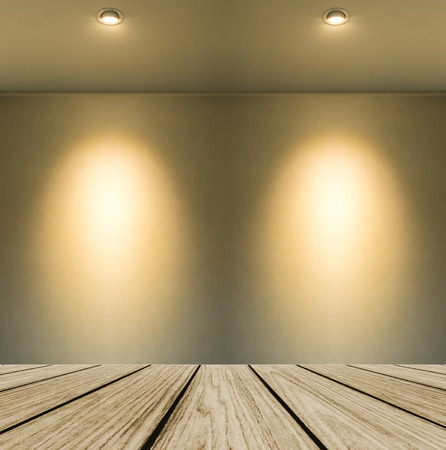 lamp shade: Empty Wooden Perspective Platform with Lamp Shade from Small Lamp on Abstract White Wall Background with Copy space used as Template to Mock up for Display Product Stock Photo