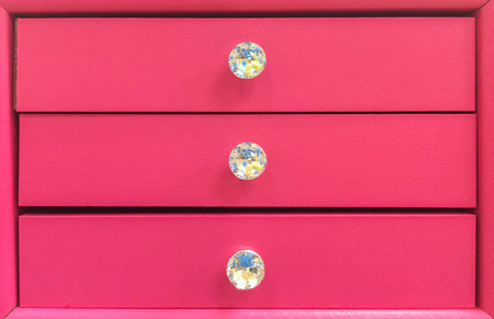 Pastel Pink Wooden Drawer with Diamond Knob to Keep Jewelry for Valentine Gift
