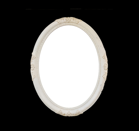 Old Blank White Oval Wooden Frame Isolated on Black, Vintage Style