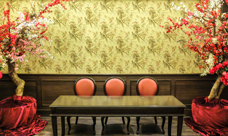 old furniture: Classic Chinese Vintage Style Table and Chair Furniture Set in a Living Room Stock Photo