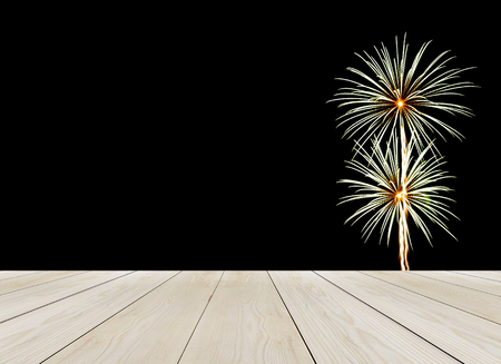 elegant christmas: Perspective Wooden Table Top with Abstract Firework in Dark for Mock up or Display Product Stock Photo